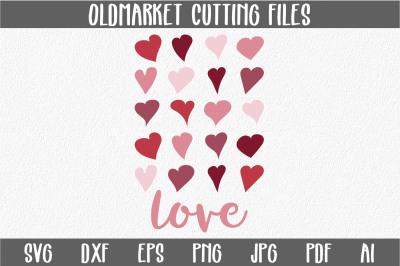 Love with Hearts SVG Cut File - Valentine SVG - DXF - PNG - JPEG - PDF