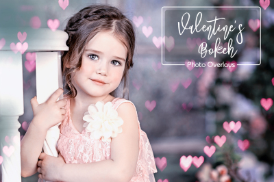 30 Valentines Overlays, Pink Bokeh, Gold Hearts Overlay