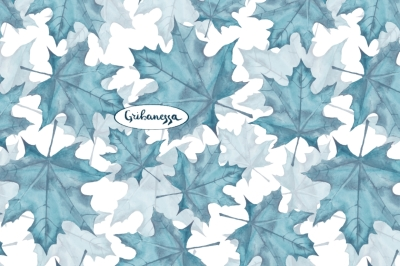 Blue leaves. Watercolor pattern