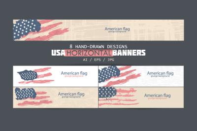 USA horizontal banners/American Flag/USA backgrounds