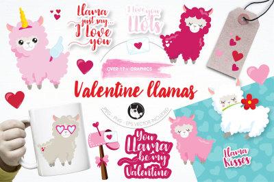 Valentine llamas graphics and illustrations