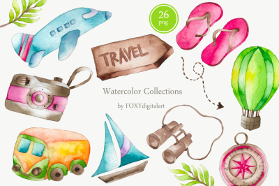 Watercolor Travel Vacation Clipart