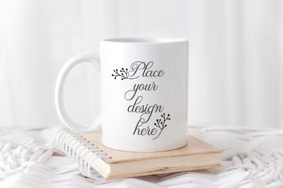 White coffee template mug mock up rustic cup mockup PSD smart mockups
