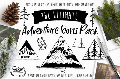 Hand Drawn Nature Icons Vector Bundle