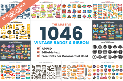 1046 VINTAGE BADGE & RIBBON