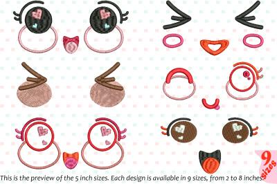 Kawaii Expression Embroidery Design emoticons face smile cartoon 184b