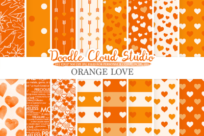 Orange Romantic digital paper, Valentine's day patterns