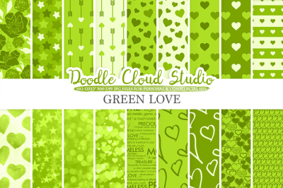 Green Romantic digital paper, Valentine's day patterns