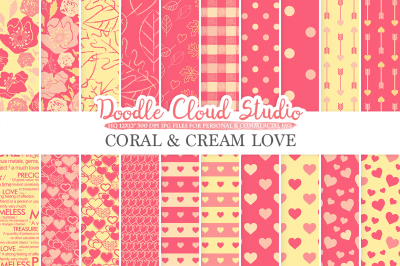 Coral and Cream Romantic digital paper, Valentine's day patterns