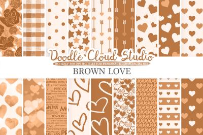 Brown Romantic digital paper, Valentine's day patterns