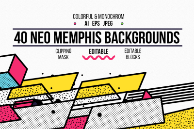 40 vector Neo memphis backgrounds