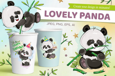 Set of cute pandas