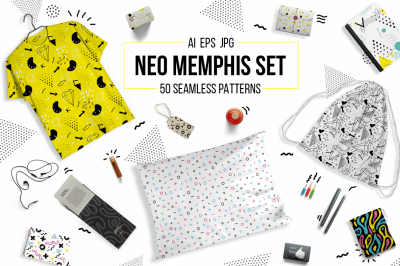 50 memphis seamless patterns set