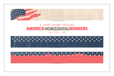 America horizontal banners. Usa background.