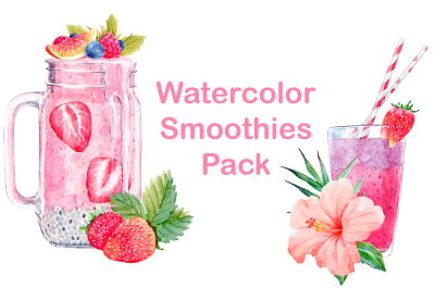 Watercolor Smoothie Pack (PNG + VECTOR)