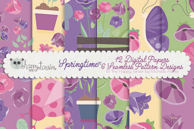 Springtime 02 Seamless Pattern Designs and Digital Papers