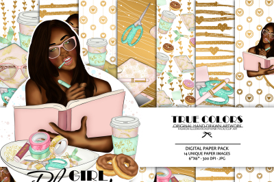 Dark Skinned Planner Girl Dark Toned Planner Girl