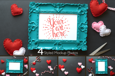 Valentines Day Picture Frame Mockup Photoset