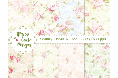 Shabby Florals and Lace Set 1 - digital papers (set of 8)