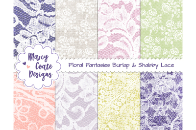 Floral Fantasies Burlap & Shabby Lace backgrounds (set of 8)