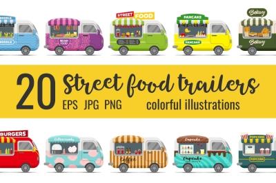 BUNDLE -25% OFF: 20 fast food street trailers