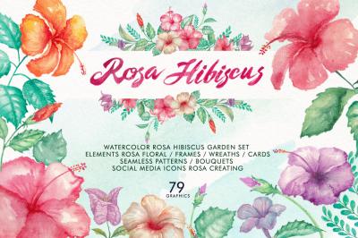 Watercolor Rosa Hibiscus flowers