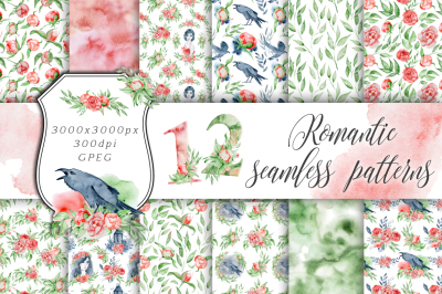 Romantic digital paper Seamless patterns clipart