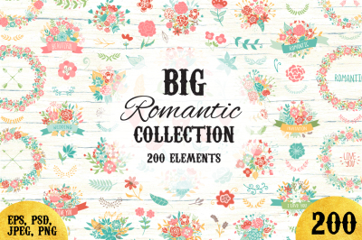 200 Wedding Floral Romantic Set