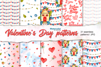 Watercolor Love seamless patterns