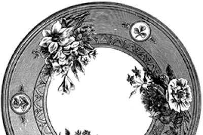 Old Plates Clipart Vintage Black White Illustrations