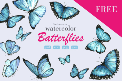 Set of watercolor blue butterflies