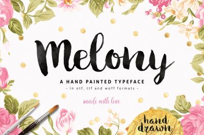 Melony Script, Hand Drawn Brush Font