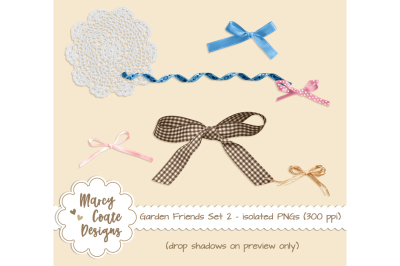 Garden Friends Set 2 - Bows, Ribbon, Doily isolated PNGs