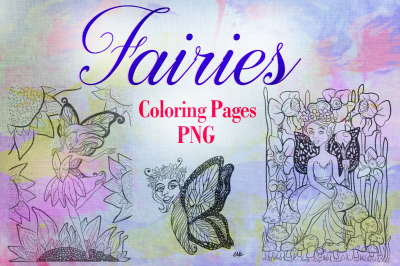 Fairies Coloring Pages PNG