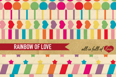 Retro Rainbow Digital Scrapbook Patterns Pack