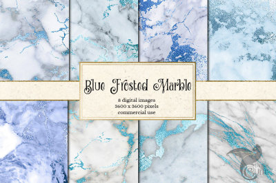 Blue Frosted Marble Digital Paper