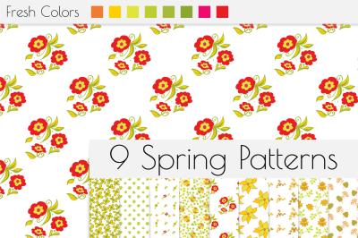 Spring seamless patterns. Digital paper