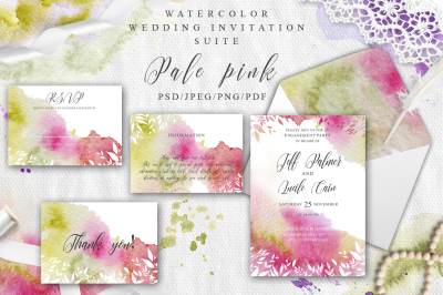 Pale Pink Watercolor Spring Wedding Invitation suite