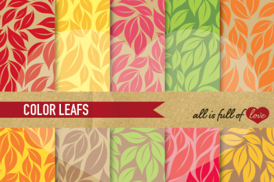 Digital Paper Pack with Leafs Patterns