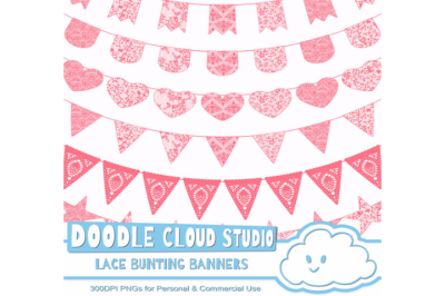 Coral Lace Burlap Bunting Banners Cliparts multiple Peach texture flag
