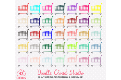 Colorful Shopping Cart Clipart Rainbow Shop Trolley Grocery Store