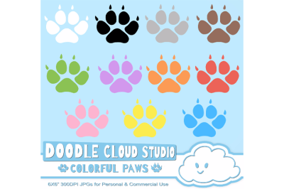 Colorful Paw Prints Cliparts, Dog & Cat Paws, Pet Clip Arts, Animals