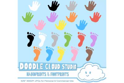 Colorful FootPrints & Handprints Cliparts, Hands Foot prints