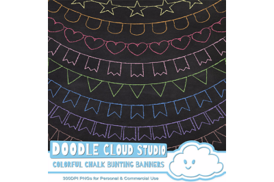 Colorful Chalk Bunting Banners Cliparts Colorful Bunting Flags Clipart