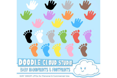 Colorful Baby FootPrints & Handprints Cliparts, Baby Hands Foot print