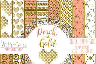 Digital Paper Pack Peach and Gold Gold Foil Ornaments Basic Paper