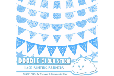 Blue Lace Burlap Bunting Banners Cliparts, multiple lace texture flags