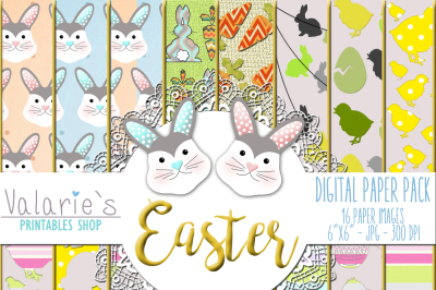 Digital Paper Easter Bunny Eggs Chicken Rabbit Paper Easter Fun
