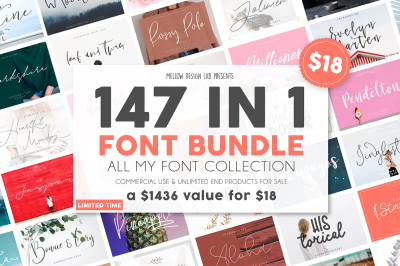 147 IN 1 Font Bundle SALE