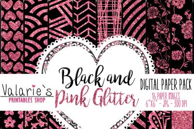 Digital Paper Hot Pink Glitter and Black Pink Glitter Glitter Element